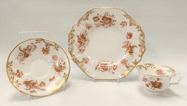 A Copeland & Garrett late Spodes Felspar porcelain tea cup, saucer and plate, No.5083, each brown