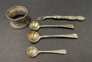 A pair of George III silver Old English pattern mustard spoons, maker I.L.H.L., London 1810,