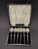A set of six silver annointment demi tasse spoons, maker JR, Birmingham 1957, weight 2oz approx.