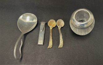 A mixed selection of silver to include a Georg Jensen 925 silver caddy spoon, a small silver