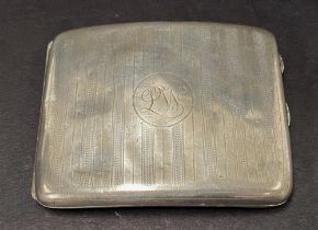 A George V silver engine turned cigarette case, maker R.P., Chester 1924, width 10.5cm, weight 4.