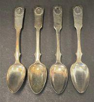 A set of four 19th century Russian teaspoons, Fiddle Shell pattern, maker S.T, 84 Zolotnik mark