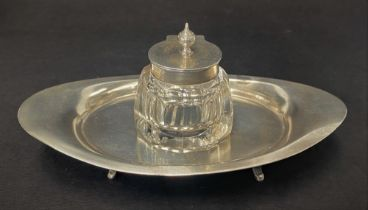 A Victorian silver inkstand with faceted cut glass hinge lidded inkwell by Charles and George