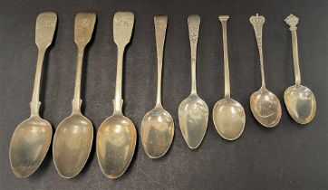 A set of three Victorian silver Fiddle pattern teaspoons, together with two George III silver