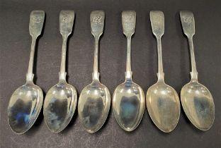 A set of six Victorian silver Fiddle pattern dessert spoons, maker CW, London 1852, weight 7.75oz