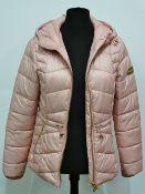 A contemporary Barbour International ladies pink fibredown quilt jacket, LQU1139P134, UK size 10