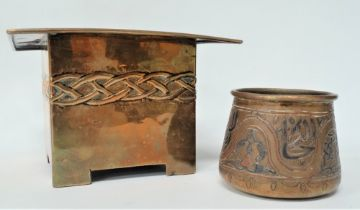 An Islamic brass, copper and silver inlaid pot, height 6cm and a brass Arts & Crafts style square