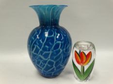 A Dartington art glass ovoid flared neck vase with blue, green and white opaque clear encased