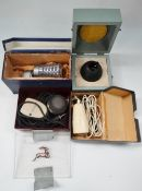 Four cased vintage microphones, including a Reslo Ribbon, an ivory bakelite microphone by Philips
