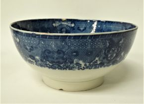 An 18th century chinoiserie blue and white transfer printed bowl, diameter 22.5cm.