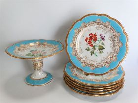 A 19th century English porcelain part dessert set, possibly by Coalport, comprising comport and