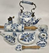 A collection of eleven Meissen 'Onion' pattern wares, including a teapot and cover (cover AF),