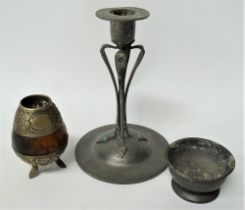 A continental pewter Secessionist style candlestick, possibly by Walter Scherf & Co. with applied