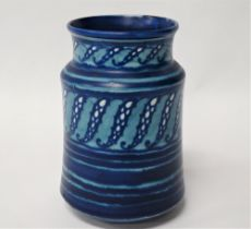 A Royal Doulton faience blue and turquoise cylindrical vase, No.7997, height 18cm.