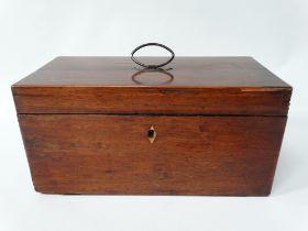 A 19th century mahogany boxwood inlaid tea caddy, hinged to reveal original glass mixing bowl