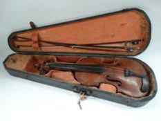 A German violin with two piece 13.75 inch back, the interior with label for Jacobus Stainer,