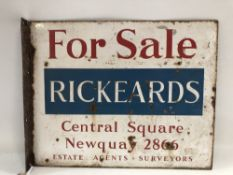 A Cornish enamel on metal double sided 'For Sale' board, 'FOR SALE RICKEARDS CENTRAL SQUARE