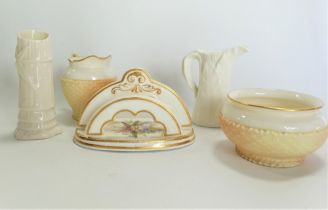 A 19th century Royal Worcester porcelain two section toast rack, foliate spray painted and with gilt