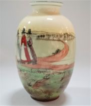 A Royal Doulton Seriesware vase designed by Charles Noke depicting Welsh ladies in a landscape, No.