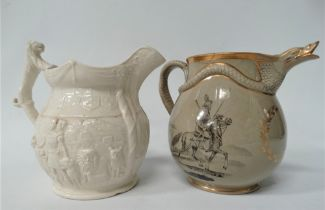 A 19th century relief moulded jug, modelled as Isaac Van Amburgh The Lion Tamer, height 17cm,