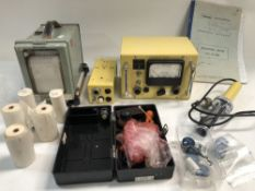 A Plessey geiger counter, together with a Record single pen chart recorder.