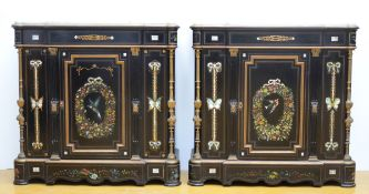 A pair of Napoleon III sideboards with painting and mother-of-pearl inlay (110x110x45)