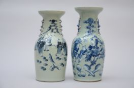 Two Celadon vases in Chinese porcelain 'sages' (42 and 45 cm)