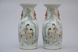 Pair of Chinese porcelain vases 'ladies' (h 45 cm)