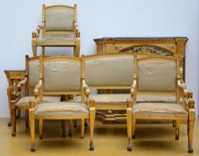 A gilded Empire style ensemble: table (77x116x72cm) display case (122x142x42cm) sofa (
