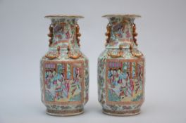 A pair of Chinese Canton porcelain vases with gilt decoration (h43.5cm) (*)