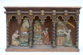 A gothic revival tabernacle carved in wood (42x68x35 cm)