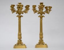 A pair of large Charles X candlesticks in gilt bronze, 19th century (73cm)