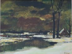 Albert Claeys: painting (o/p) 'winter view of the Leie' (48x60 cm)