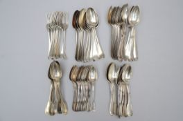 Part of a cutlery set in silver and silverplate metal