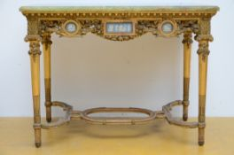 Gilt Louis XVI table with Wedgwood plaques and a green onyx top (75x99x58 cm)