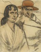 Pieter Van Der Hem: drawing 'Spanish couple' (48x37 cm)