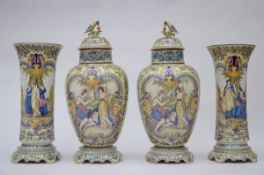 Large four-piece set in Desvres faience by Jules Fourmaintraux (73cm and 60cm) (*)