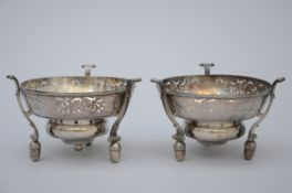 Pair of silver braziers, Brussels 1711 (10x15 cm)