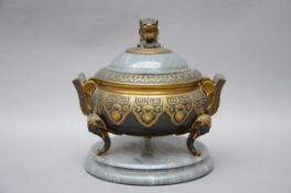 French inkwell in marble and bronze (18 cm)