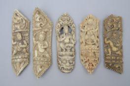 Lot: 5 sculpted elements in bone of a tantric bone apron, Tibet (size 10.5-12 cm)
