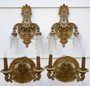 Lot: two pairs of wall lights in bronze (30x40cm) (44x32)