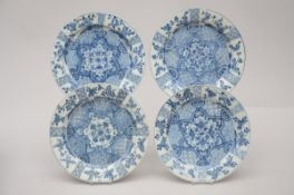 Four plates in Chinese blue and white porcelain, 18th century (26,5 cm) (*)