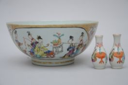 Bowl in Chinese porcelain with gilt decoration 'figures', 18th century (13x29 cm)
