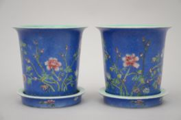 Pair of jardinières in Chinese porcelain with graviata decoration (16x16cm) (*)