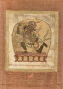 A rare silk appliqué thangka 'Achala', inscriptions (63x46 cm)