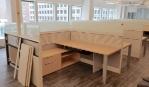 TEKNION - SIX STATION CUBICLE W/ DOUBLE GLASS BARRIER, ADJUSTABLE LEGS, POWER, (1) PACK POLE, (2)