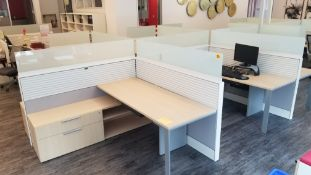 TEKNION - SIX STATION CUBICLE W/ DOUBLE GLASS BARRIER, ADJUSTABLE LEGS, POWER, (1) PACK POLE, (5)