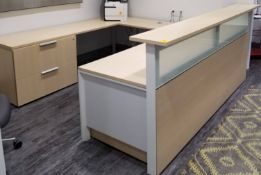 TEKNION - U SHAPE RECEPTION DESK W/ THREE DRAWER UNDER DESK STORAGE AND TWO DOOR LATERAL FILE