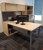 TEKNION - L-SHAPED COMPLETE OFFICE DESK W/OVER HEAD STORAGE AND LATERAL FILE/STORAGE CABINET -