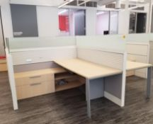 TEKNION - FOUR STATION CUBICLE W/ DOUBLE GLASS BARRIER, ADJUSTABLE LEGS, POWER, (1) PACK POLE, (2)